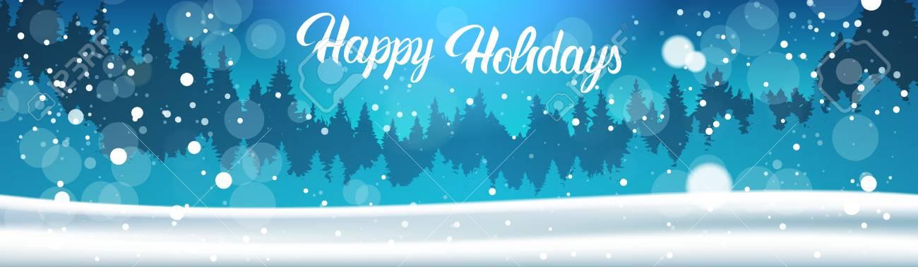 Happy Holidays Banner Background Winter Forest Landscape Night