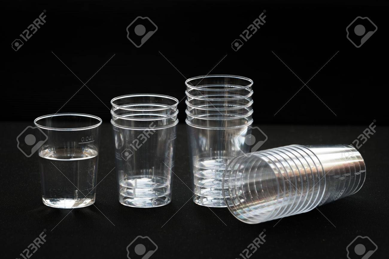 Kleine Plastikbecher Stock Photo