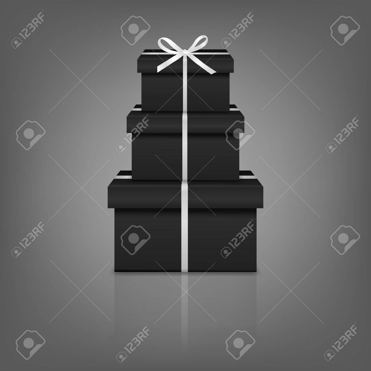 Black Gift Boxes Stack Of Three Realistic Black Gift Boxes With White Ribbon And