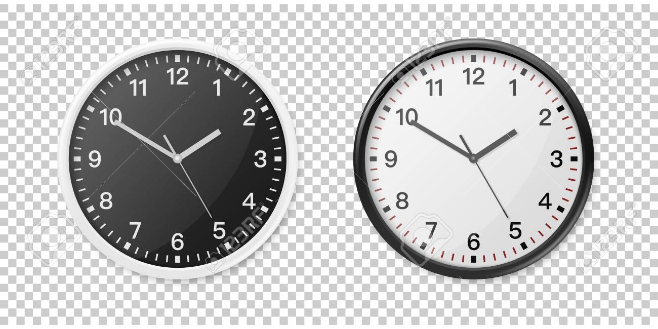 Black Wall Clock Realistic White And Black Wall Office Clock Icon Set Design