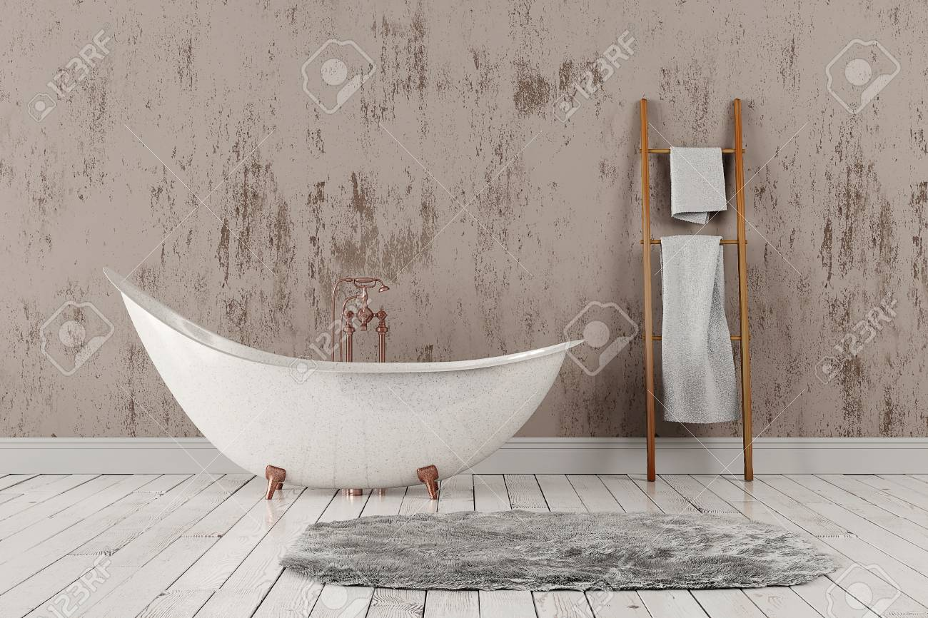 Badezimmer Wand Holz Stock Photo