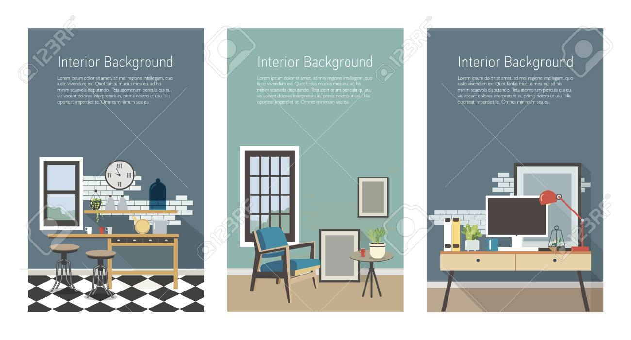 Woonkamer Set Modern Modern Interior Banners Set Kitchen Living Room Workplace