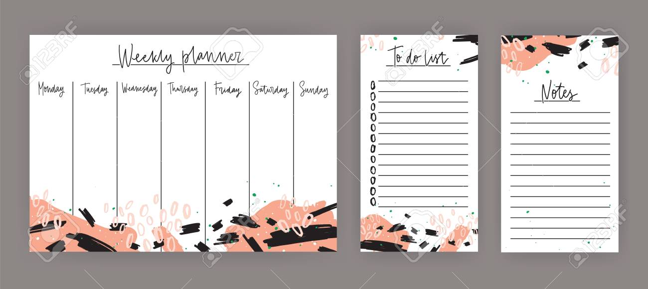 Weekly Planner With Week Days, Sheet For Notes And To Do List - weekly to do list template