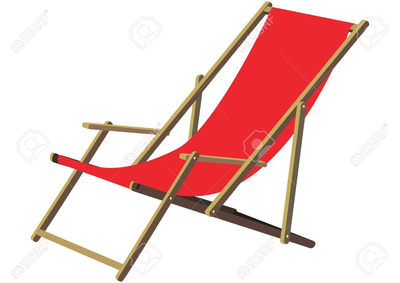 Sonnenstuhl Clipart A Classic Wooden Sun Deck Chair With Red Fabric Ldt To Relax Gemtlichen A Deckchair