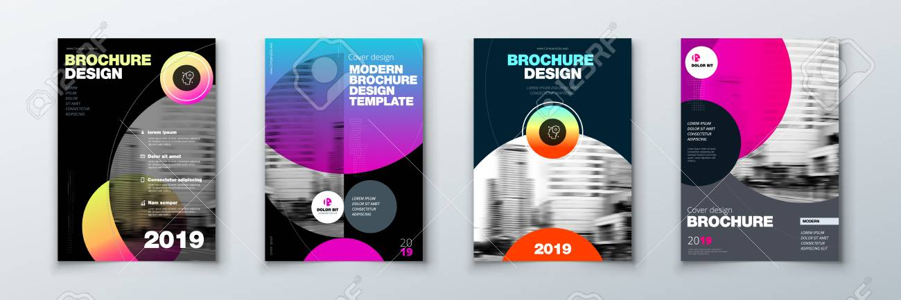 Bright Circle Brochure Cover Design Set Template Layout For