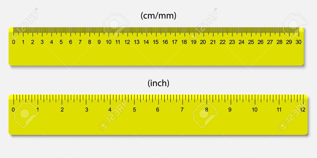Ich Cm Yellow Rulers Marked In Centimeters And Inches