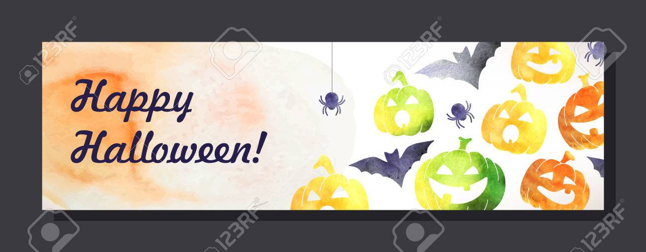 Halloween Invitation Card With Watercolor Pumpkins And Spots Royalty