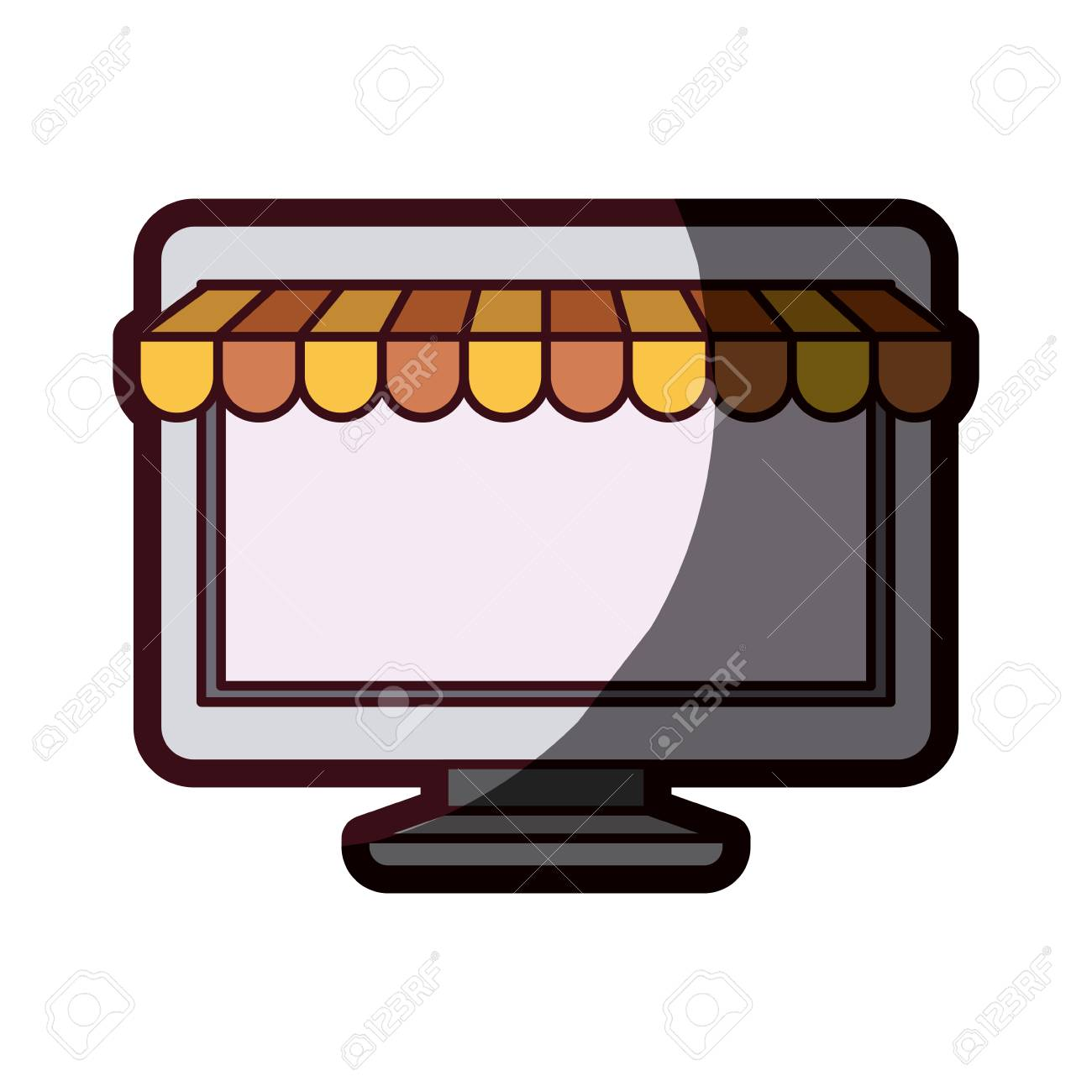 Computer Online Store White Background With Desktop Computer Online Store And Thick