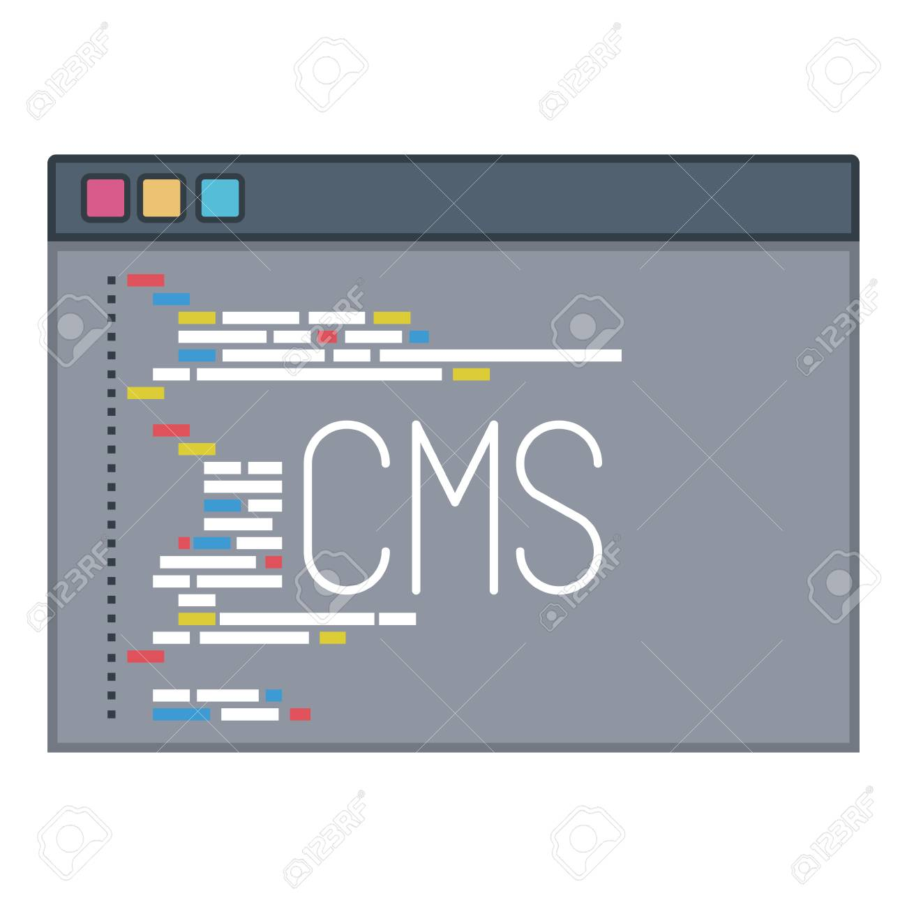 Cms Script Color Silhouette Of Programming Window With Script Code Cms Vector