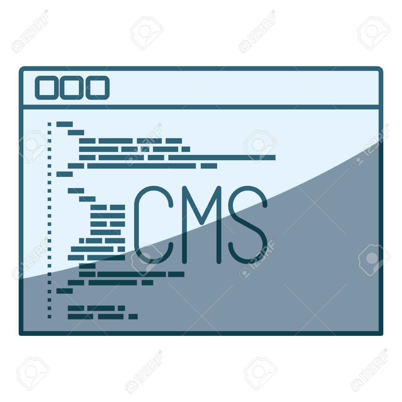Cms Script Blue Shading Silhouette Of Programming Window With Script Code