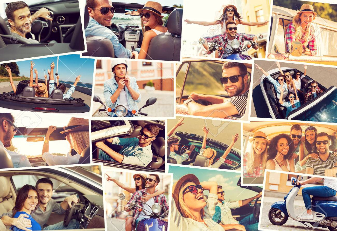 Collage Fotos On The Wheels Collage Of Diverse Young People In The Car Or