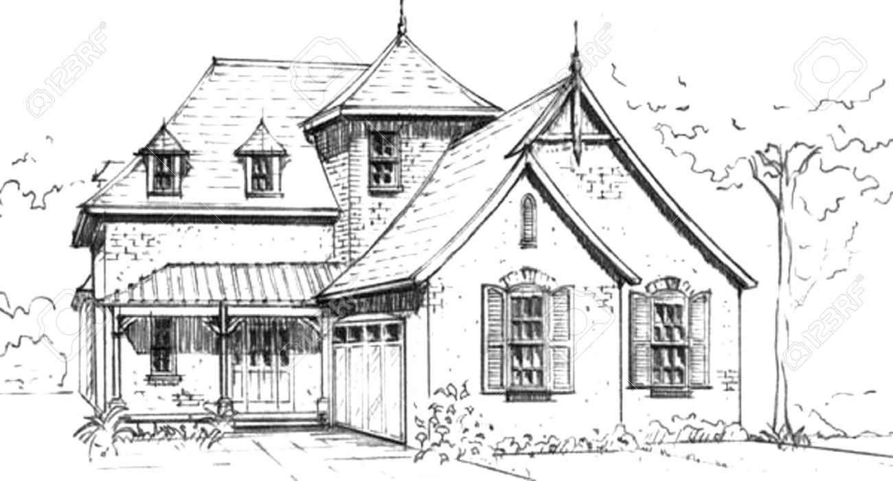 Home Design Sketch Hand Drawn Pencil Sketch Of French Country Style House Design
