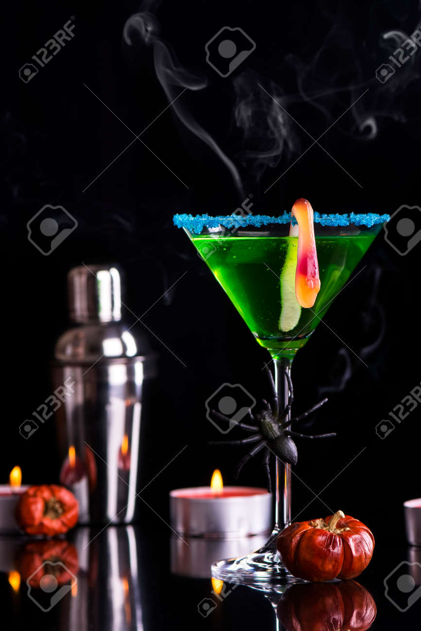 Cocktail Halloween Green Halloween Cocktail Witch S Brew Selective Focus