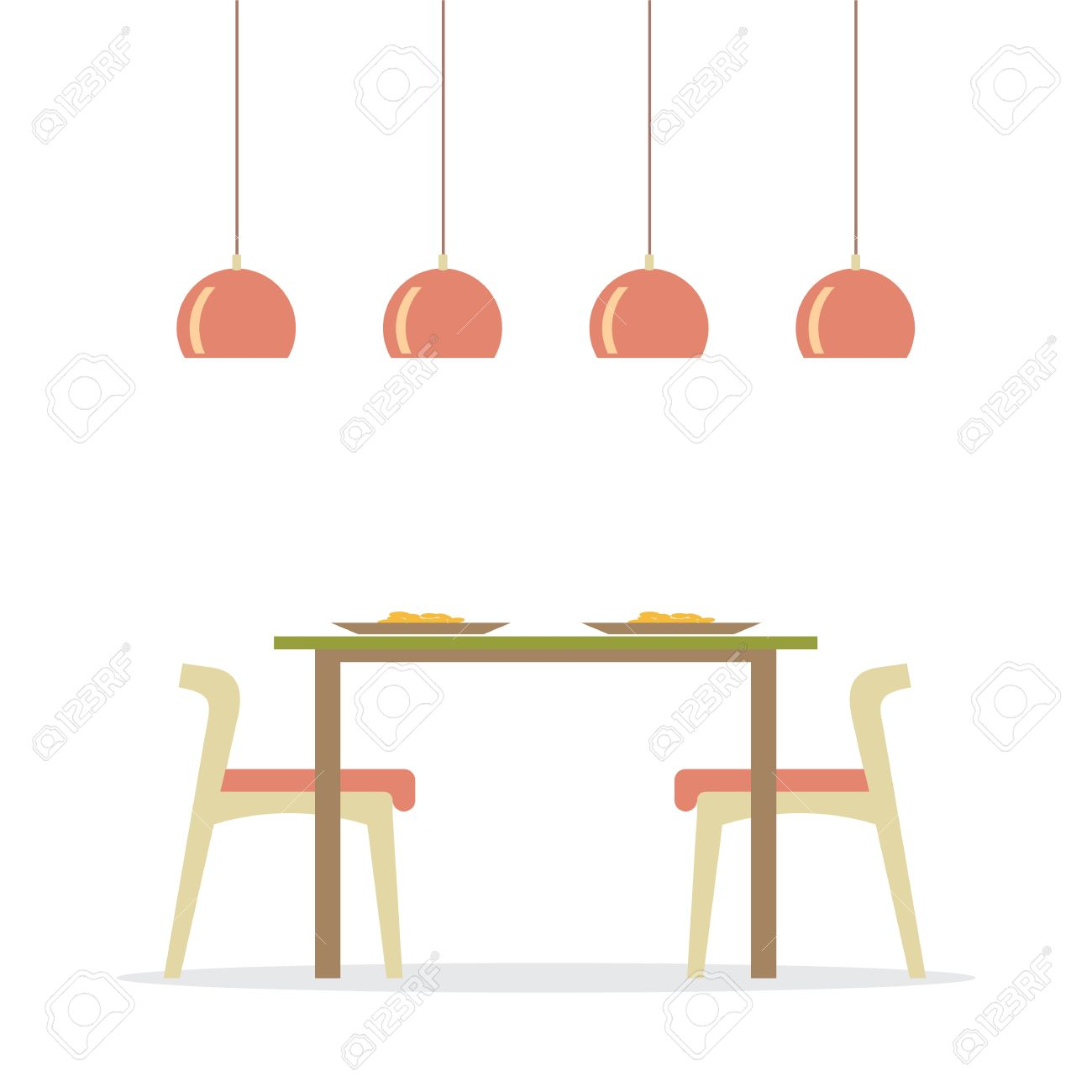 Esszimmer Clipart Flat Design Interior Dining Room Vector Illustration
