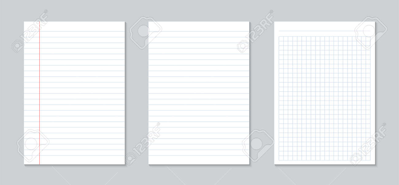 Creative Vector Illustration Of Realistic Square, Lined Paper - blank lined page
