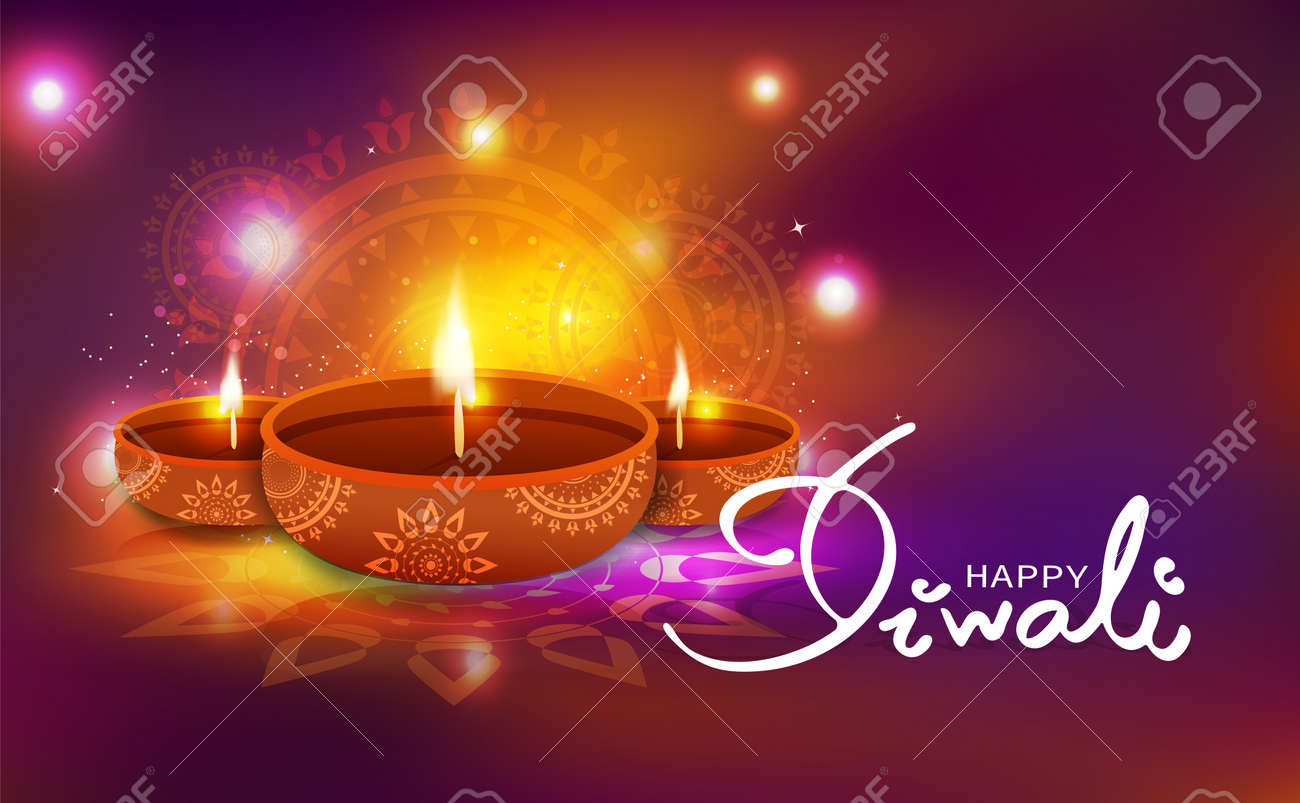 Light Decoration Diwali Diwali Celebration Oil Lamp Decoration With Floral Mandala