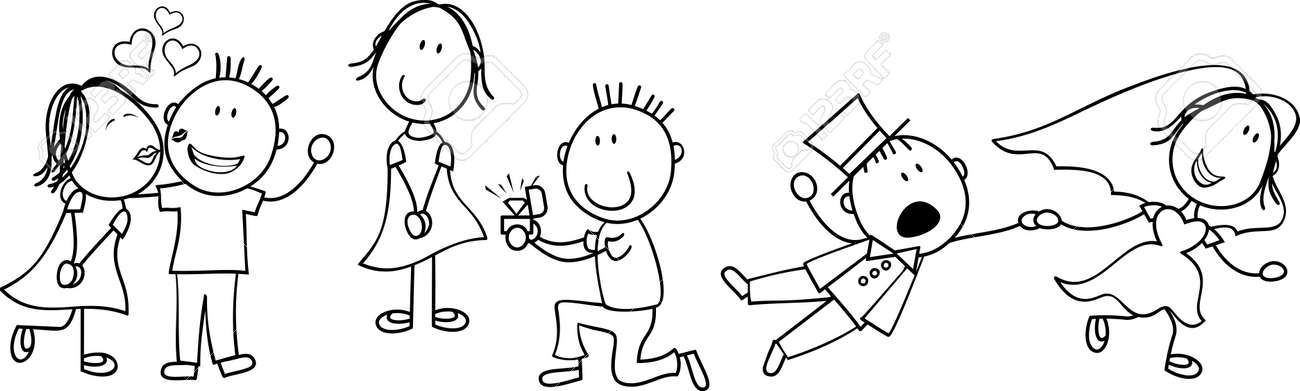 Conjunto De Dibujos Animados Par Aislado, Ideal Para La Invitación
