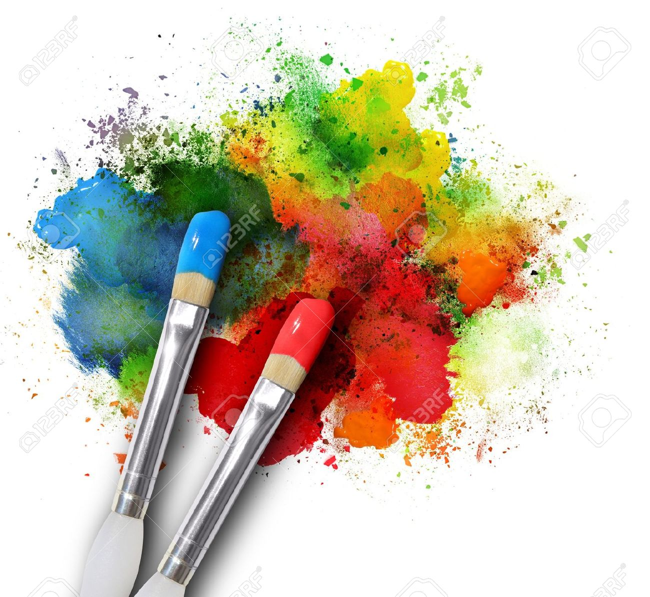 Arte Definition Francais Two Paintbrushes Are Painting A Rainbow Splattered Art Project