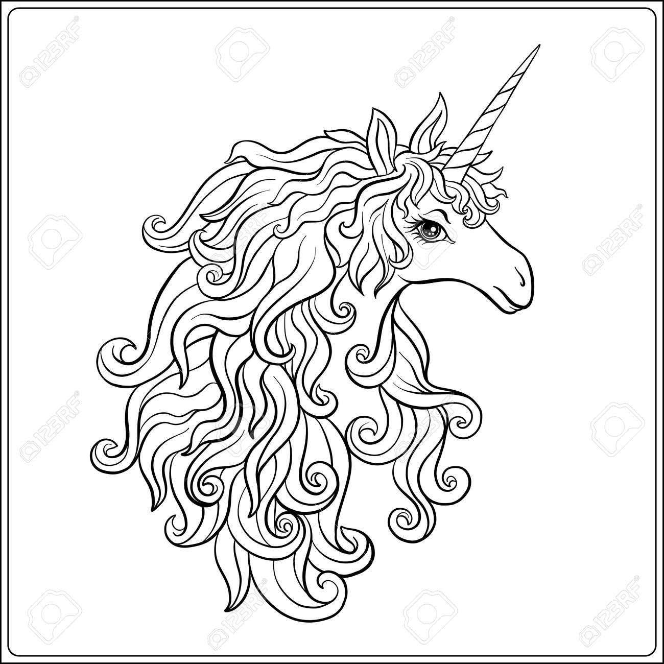Bilder Zum Ausmalen Einhorn Stock Photo