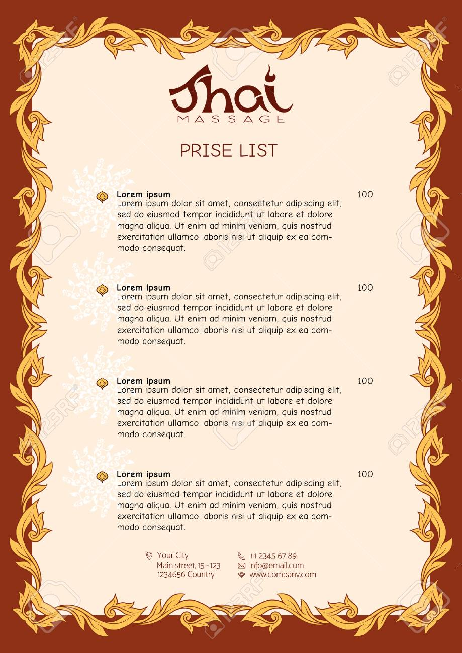 Salon Massage Thai A Template For The Price List Of A Thai Massage Salon Decorated