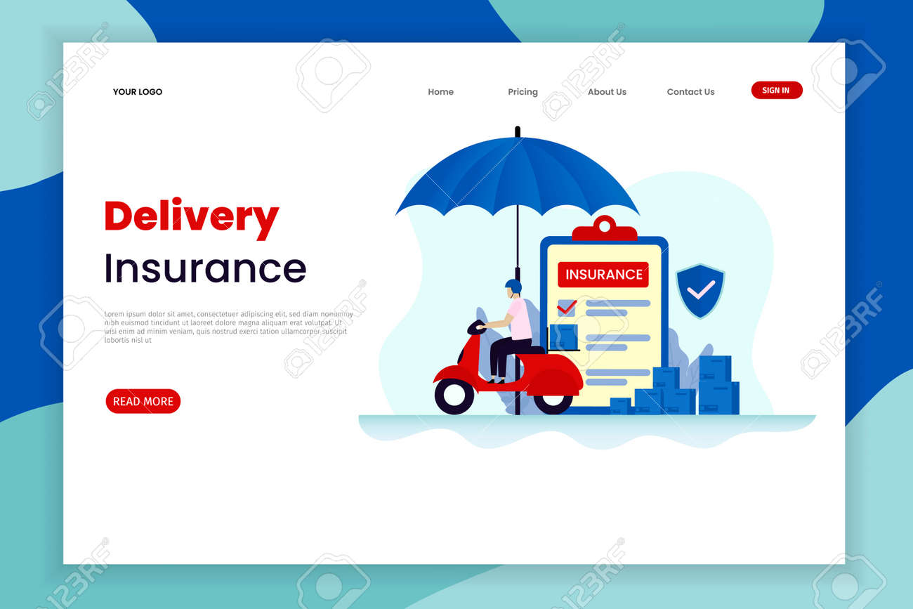 Flat Design Delivery Insurance Landing Page Template The Car Royalty Free Cliparts Vectors And Stock Illustration Image 138874192