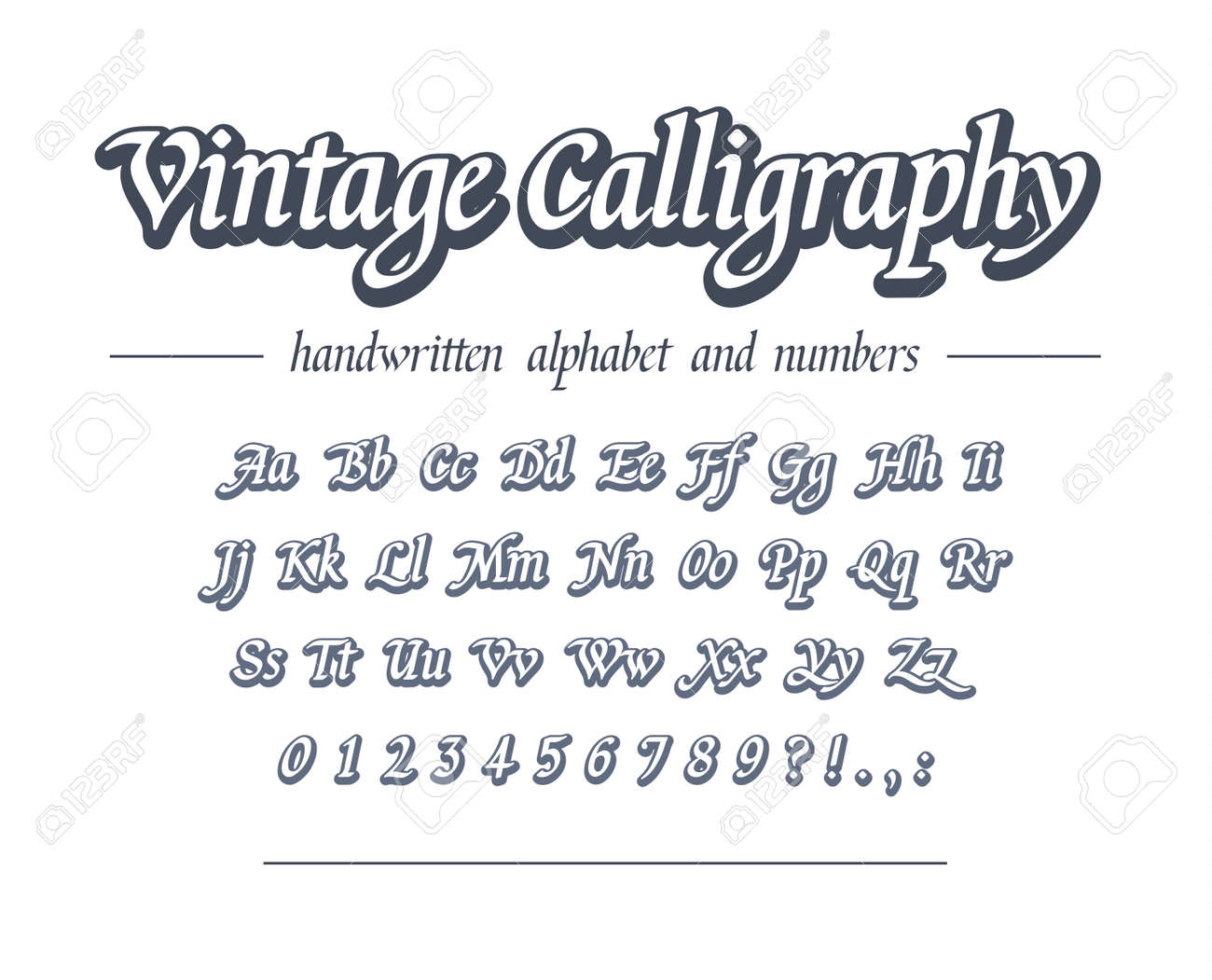 Vintage Calligraphy Hand Drawn Outline Alphabet Universal Handwritten Royalty Free Cliparts Vectors And Stock Illustration Image 129433707
