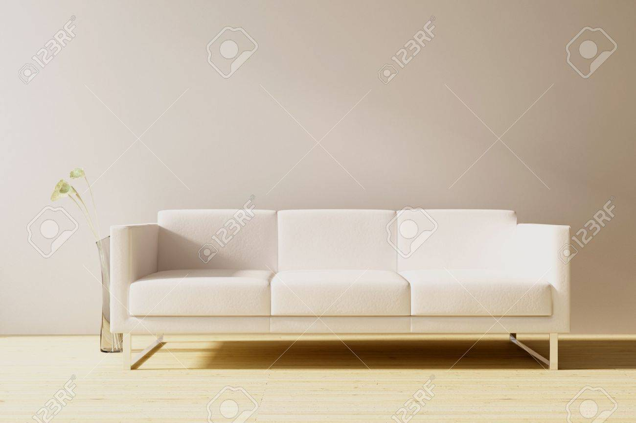 White Leather Couch White Leather Couch To Face A Blank Wall Front View