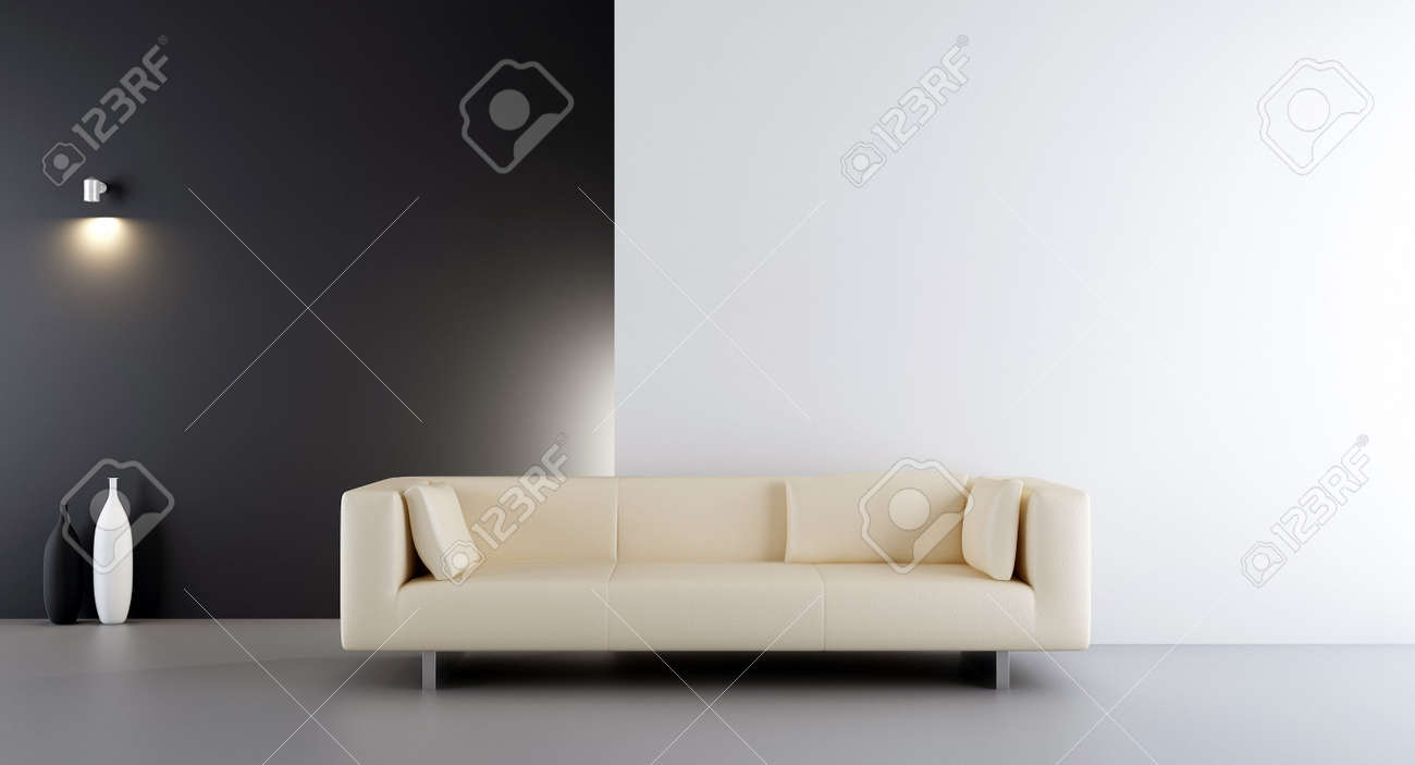 White Leather Couch White Leather Couch To Face A Blank White And Black Wall