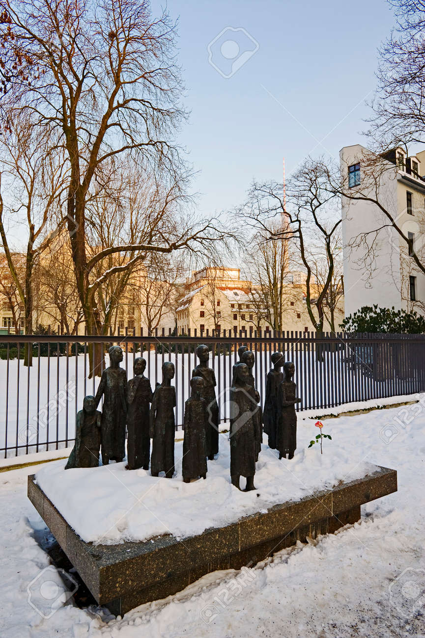 Jewish Cemetery At Grosse Hamburger Strasse In Berlin Germany Sculpture Dedicated To The Jewish Victims Of Fascism At The
