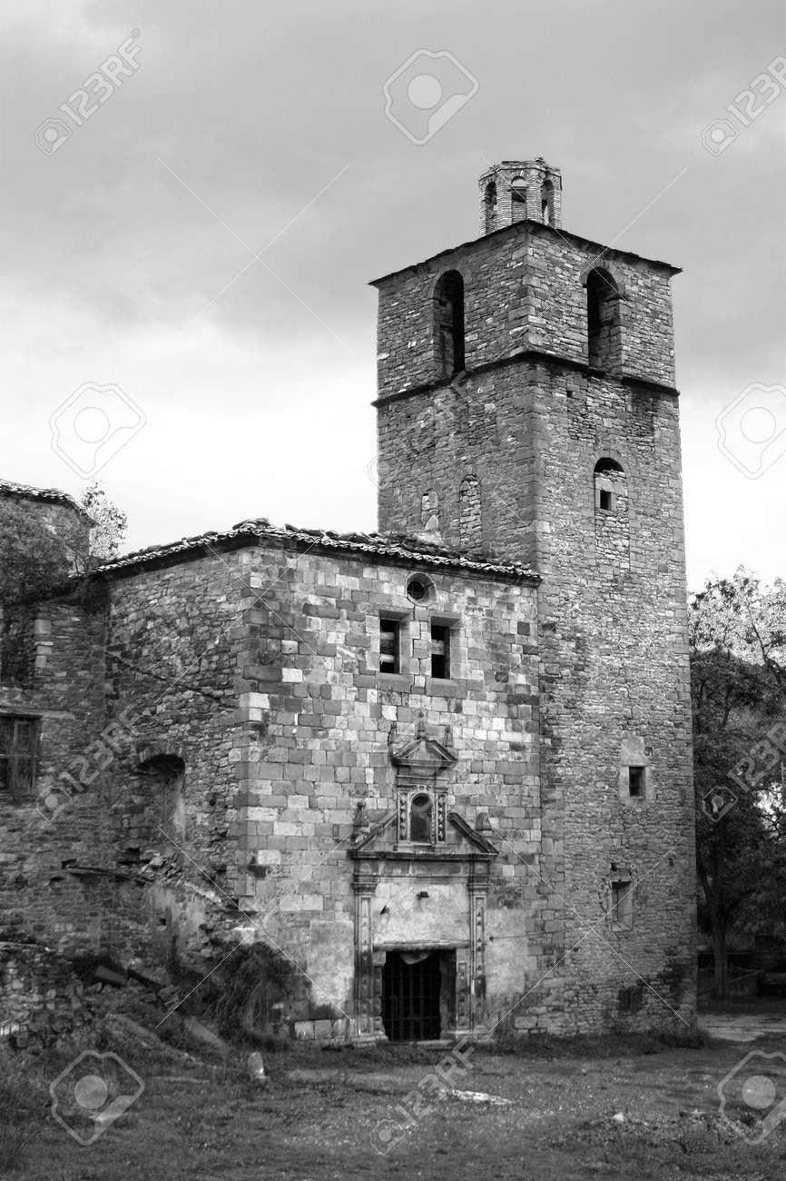 Camino De B Old Abandoned Village Church Of Ruesta Aragon Spain On The