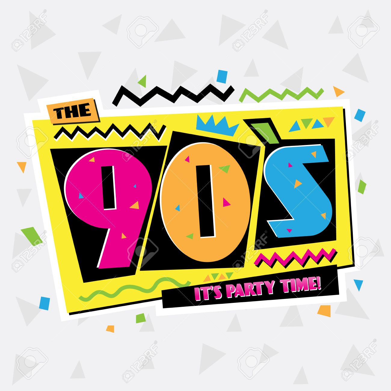Party Time Party Time The 90s Style Label Vector Illustration
