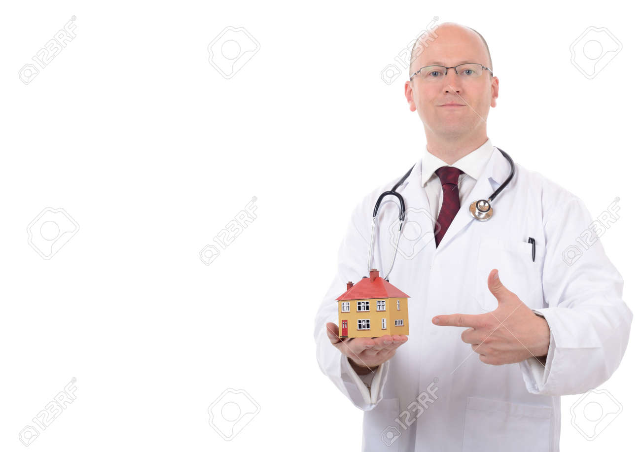 House Doctor Bank Concept Of House Check Up Or House Doctor Isolated On White Background