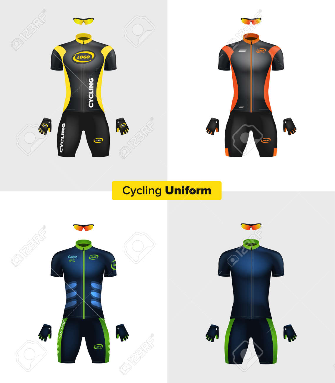 Cycling Clothing Realistic Vector Cycling Uniforms Branding Mockup Bike Or Bicycle