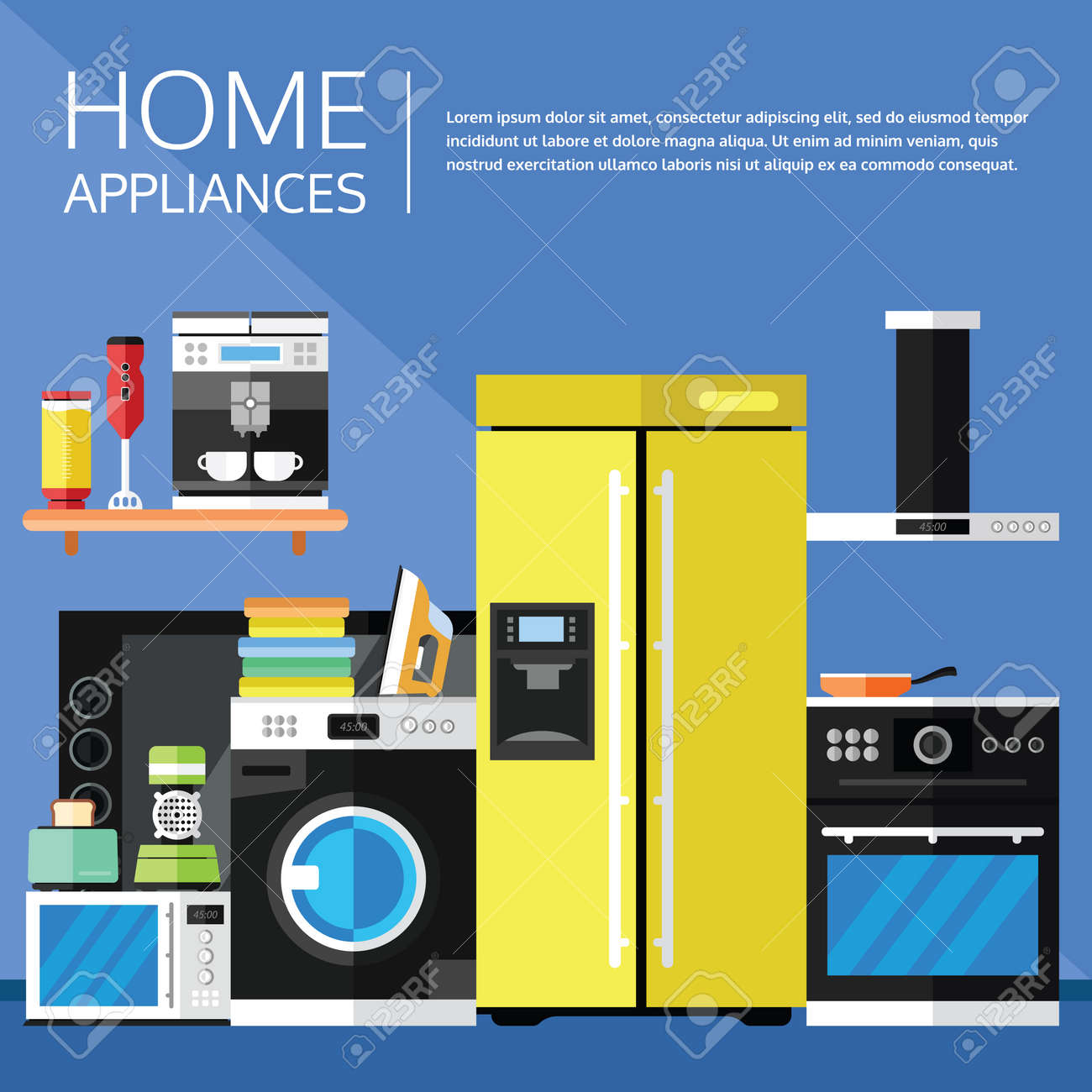 In Home Electronics Home Appliances And Electronics In A Flat Design