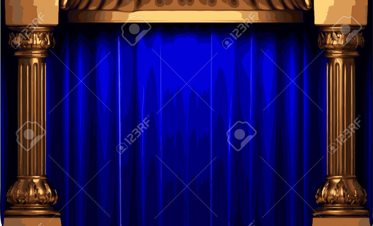 Blue curtain backdrop - Stage Curtain Background Behind Stage Curtains Background Vector Vector Blue Curtain Stage