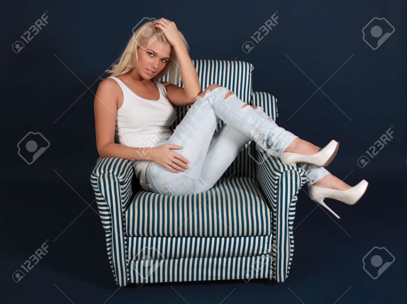 Jeans Sessel Stock Photo