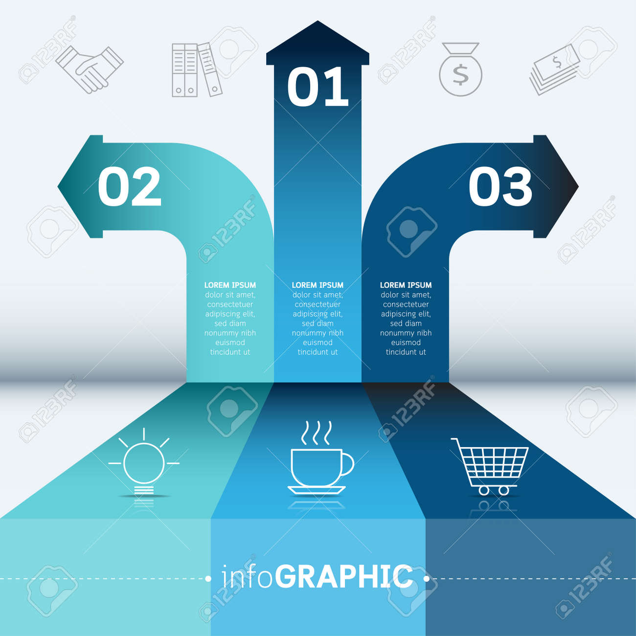 Business Step Business Step Options Diagram Banner Abstract Vector Illustration