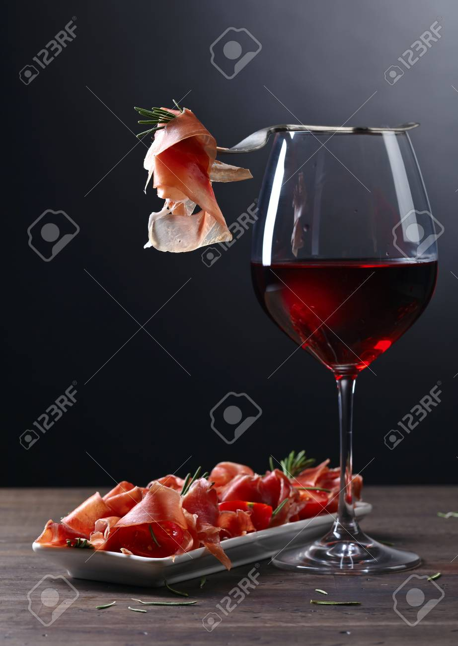 Mediterrane Küche Wein Stock Photo