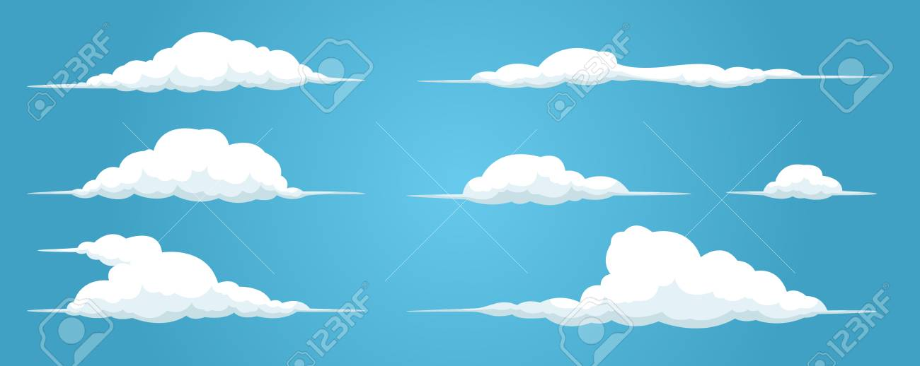 Clouds Set Isolated On A Blue Background Simple Cute Cartoon