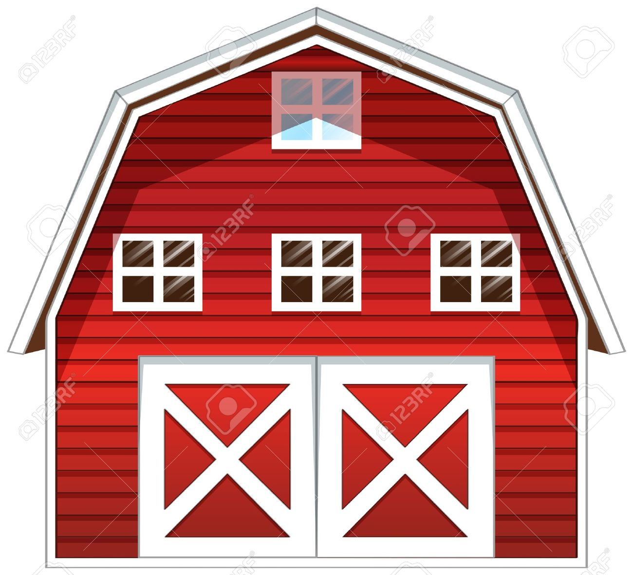 Red barn illustration of a red barn house on a white background