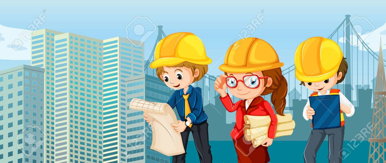 Engineers And Workers Reading Blueprints Illustration Royalty Free - reading blueprints