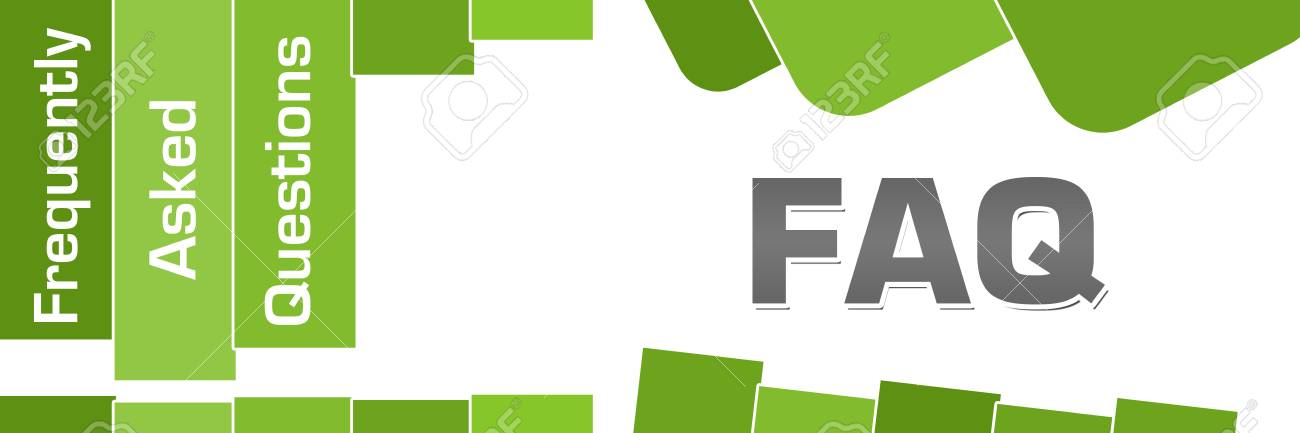 FAQ - Frequently Asked Questions Green Stripes Text Stock Photo