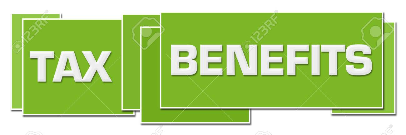 Tax Benefits Green Color Boxes Stock Photo, Picture And Royalty Free