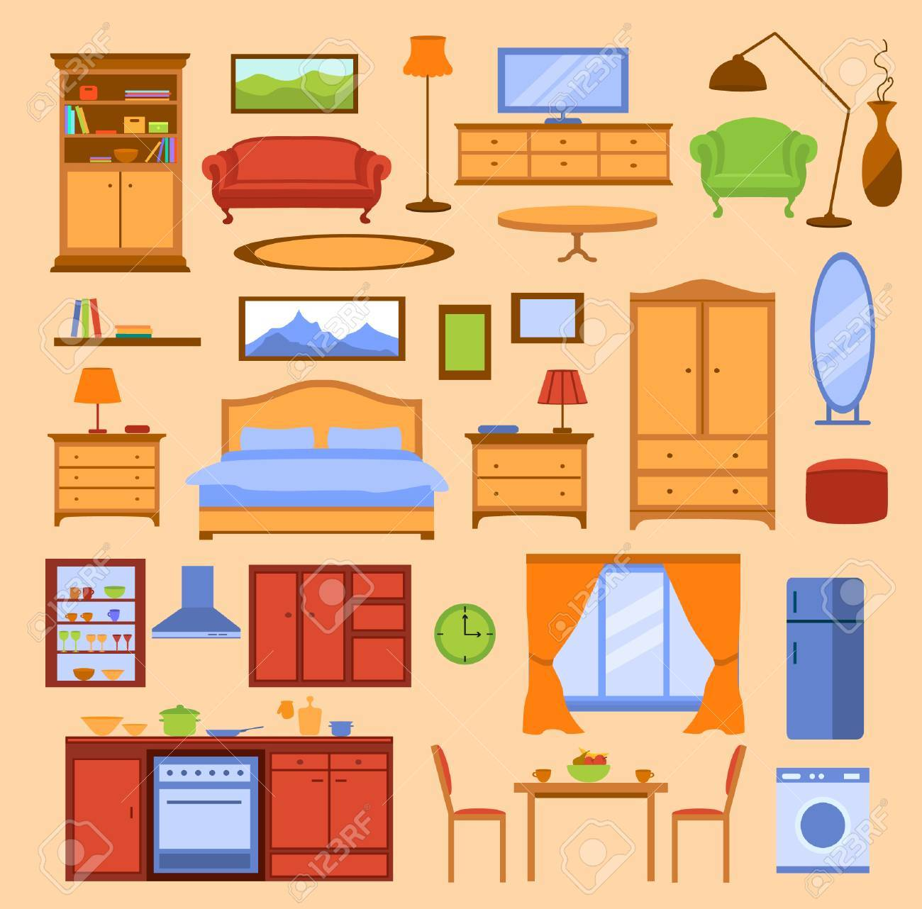 Colorful Furniture Items Set Furniture Collection In Color Royalty Free Cliparts Vectors And Stock Illustration Image 58516175