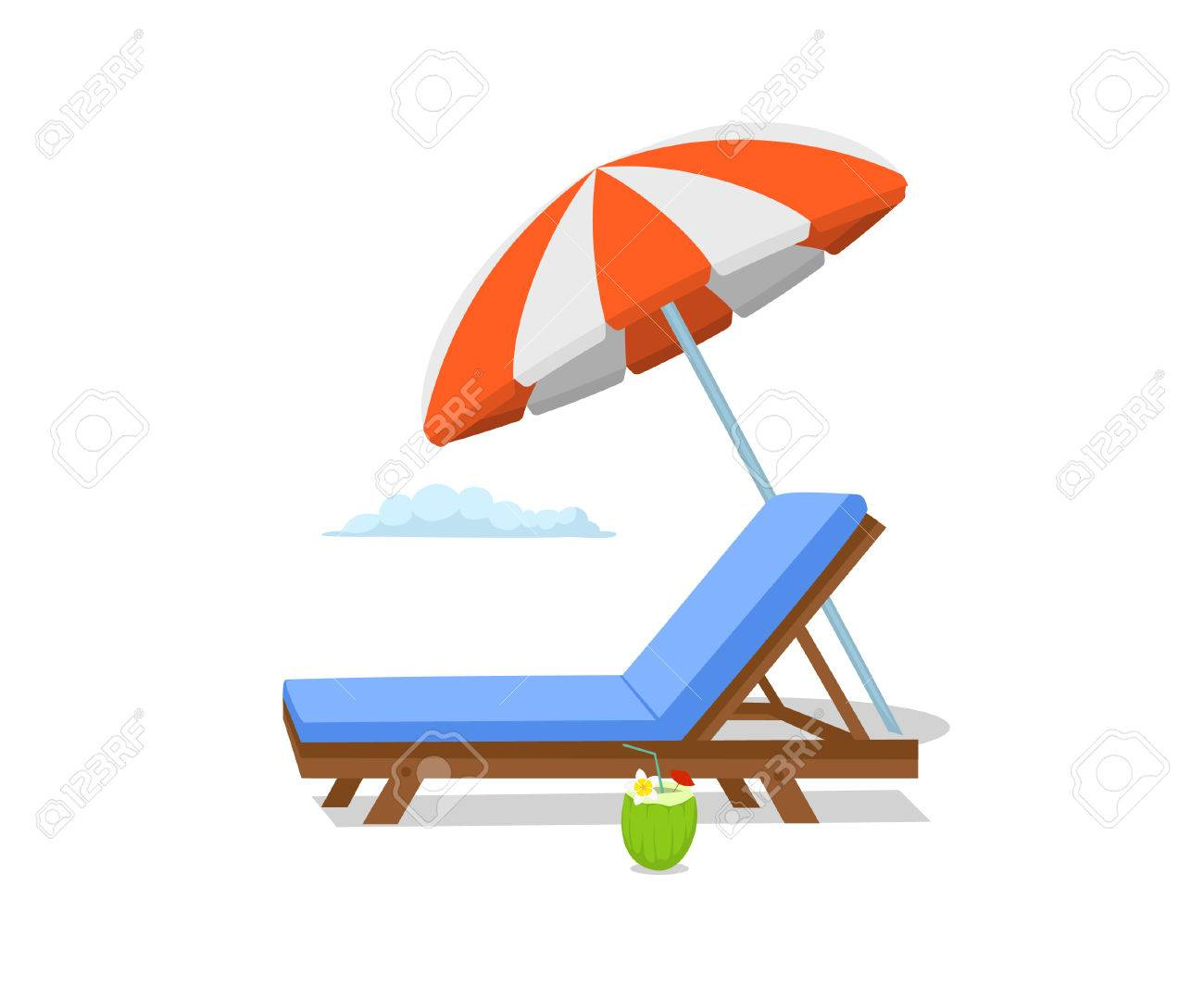 Sonnenstuhl Clipart Summer Time Beach Umbrella Lounge Sun Chair Scene Isolated