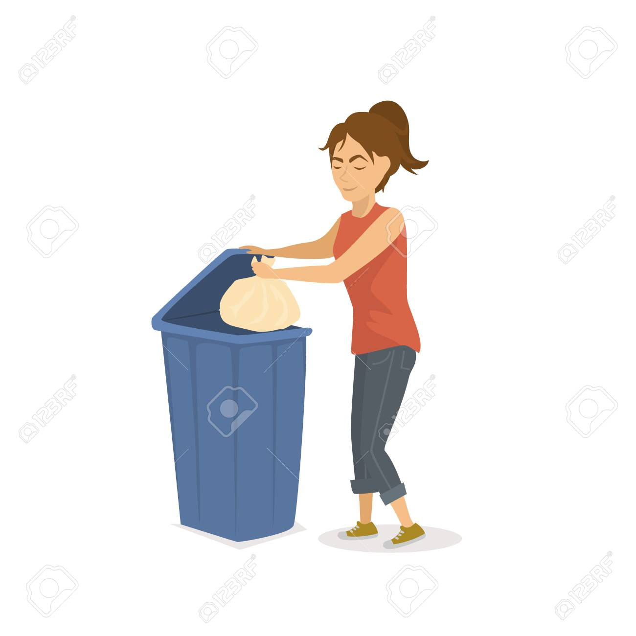 Laundry Trash Cans Woman Throwing Plastic Trash Garbage In A Trash Bin Illustration