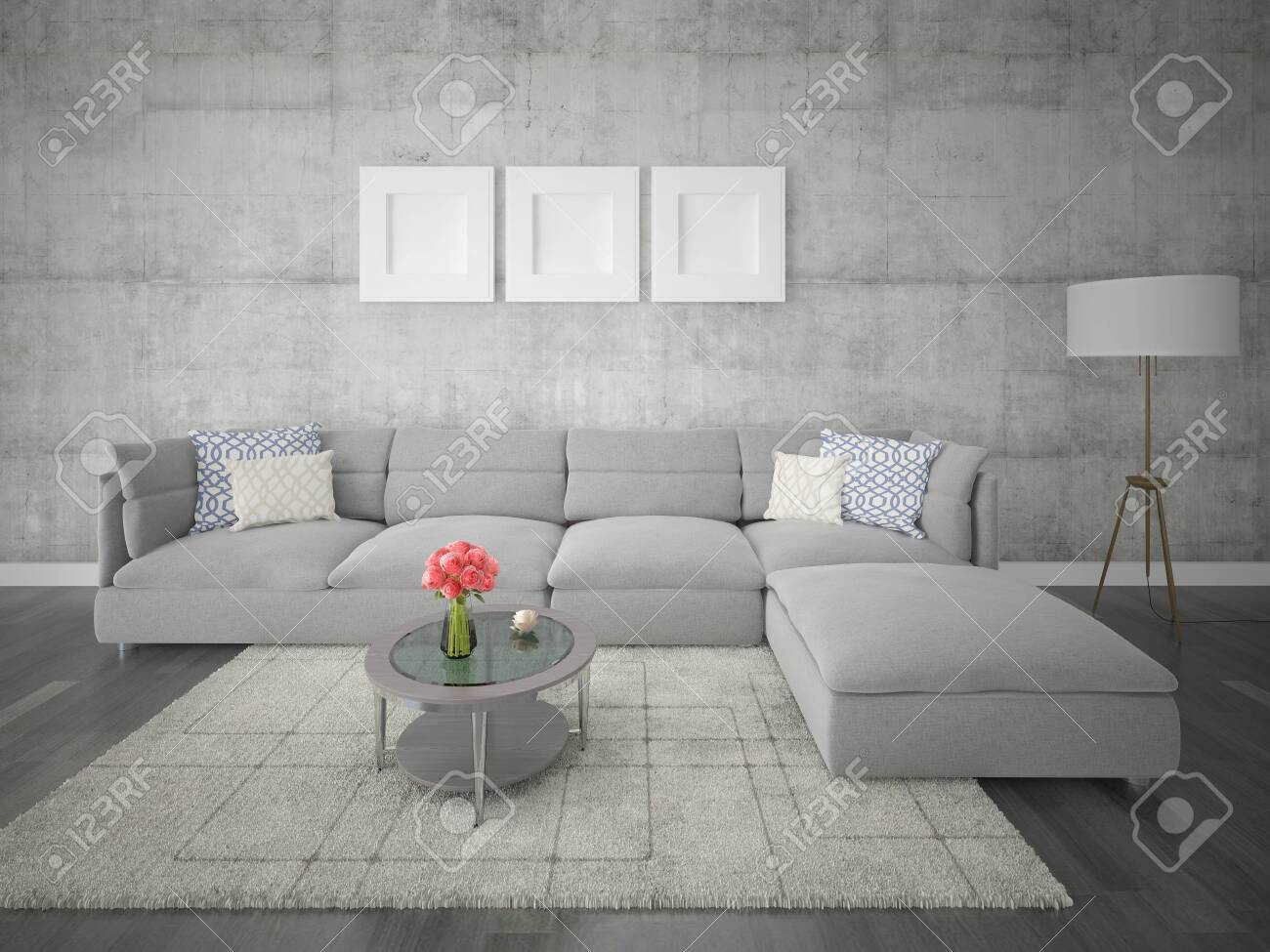 Moody Upholstered Corner Sofa With An Original Hipster Backdrop Stock Photo Picture And Royalty Free Image Image 127270302