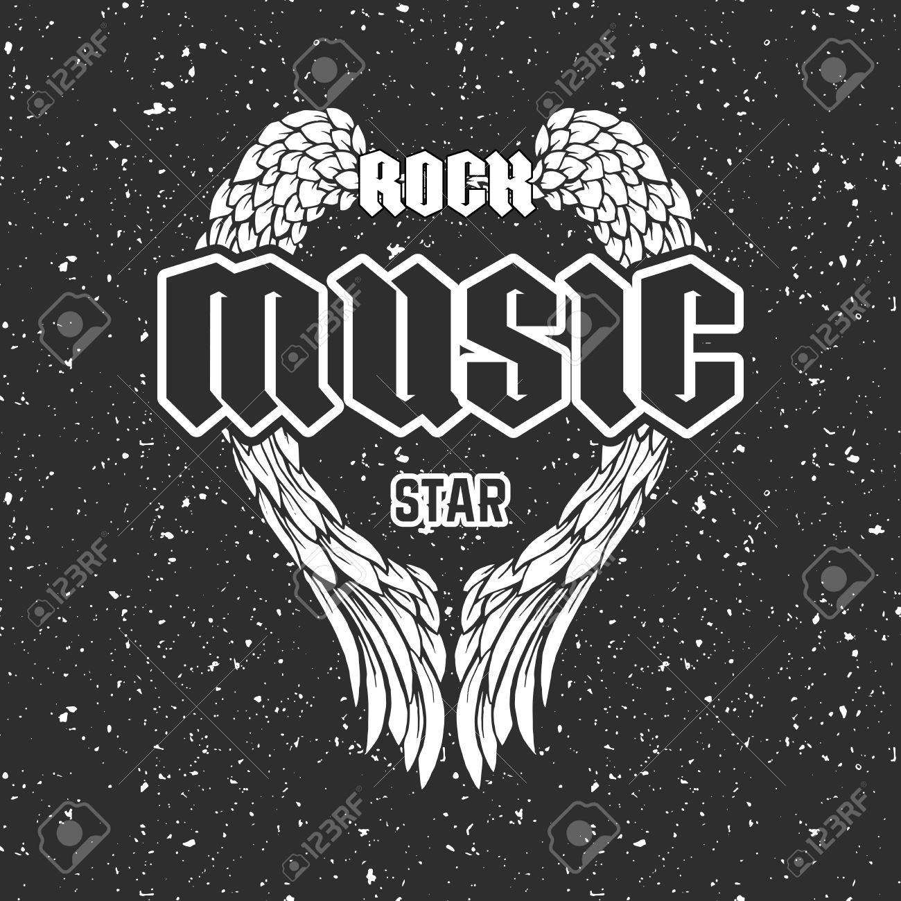 Rock Music Cover Retro T Shirt Print Or Music Disk Cover With Angel Wings And