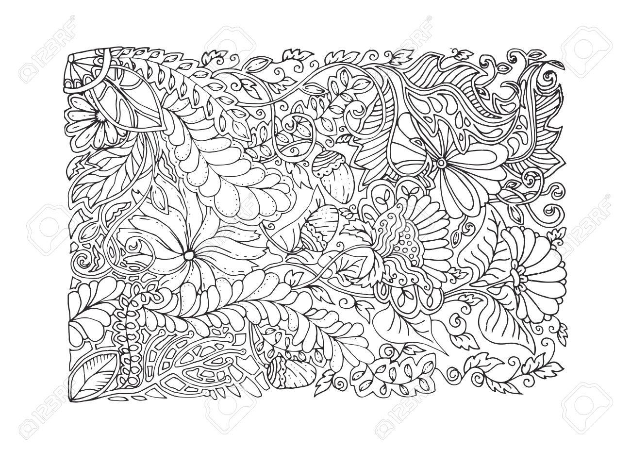 Dessin Apaisant Conception De Printemps Adultes Page De Coloriage Couleur Noir Et Blanc Antistress Modèle Apaisant Illustration Vectorielle Monochrome Dans L Art