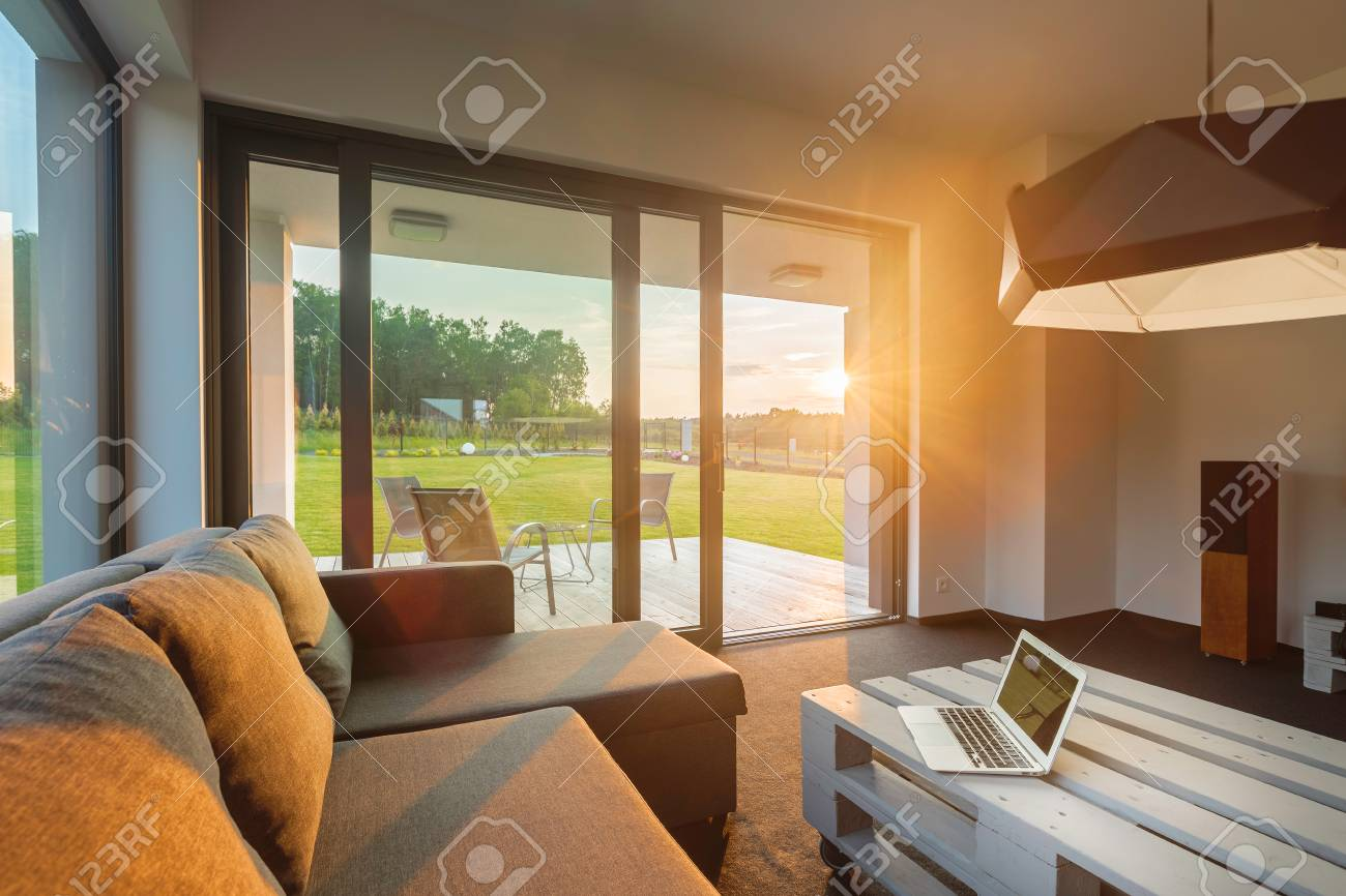 New Living Room With Wall Glass System Big Sofa And Small Table Stock Photo Picture And Royalty Free Image Image 58746942